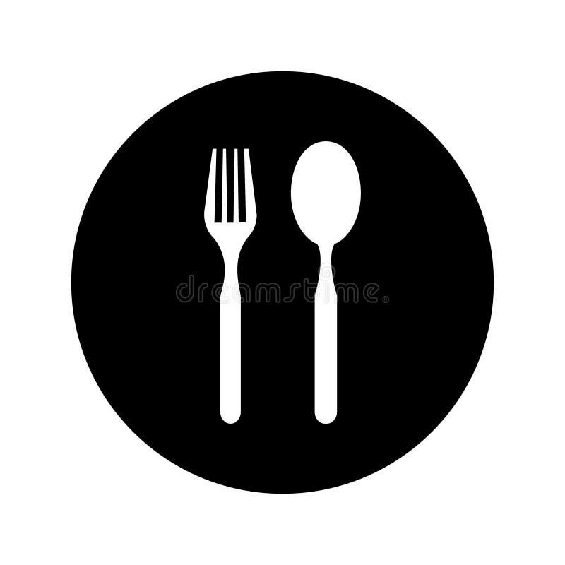 Plätera den symbols-, gaffel- och skedsymbolen Platta-, gaffel- och skedillustrationsymbol stock illustrationer