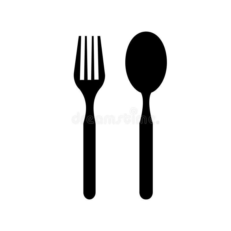 Plätera den symbols-, gaffel- och skedvektorsymbolen Platta-, gaffel- och skedillustrationsymbol vektor illustrationer