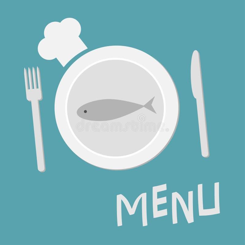 Plätera med fisken, dela sig, kniven och kockhatten Plan designstil Restaurangmatmaträtt Plan materiell designstil background car vektor illustrationer