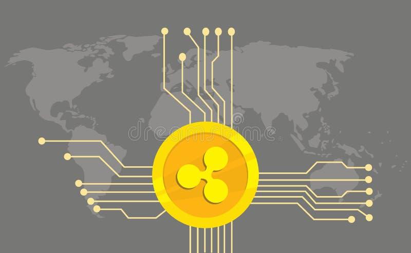 Plätschern Sie cryptocurrency Marken-Ikonenwahl mit goldener Münze und elektronischen Punkt mit Weltkartehintergrund lizenzfreie abbildung