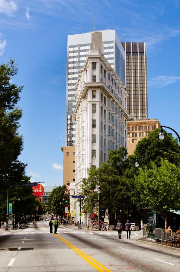 Plätteisengebäude in im Stadtzentrum gelegenem Atlanta stockfotografie