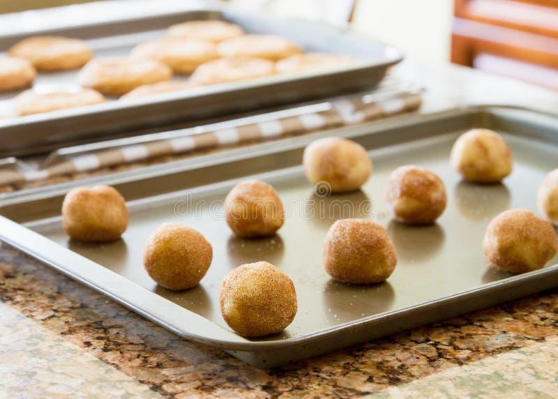 Plätzchen auf einem Backblech bereit, in Ofen und in das gebackene Plätzchenabkühlen einzusteigen; stockfoto
