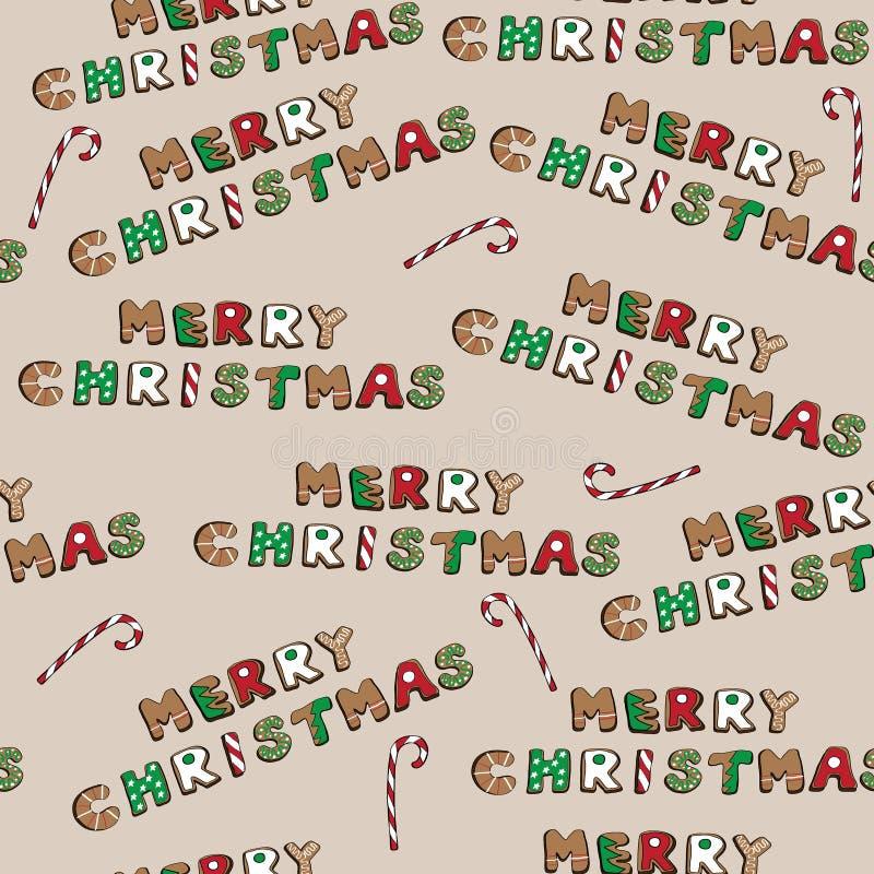 Plätzchen der frohen Weihnachten stellten mit Süßigkeiten auf braunem Hintergrund, Vektorillustration, nahtloses Muster ein vektor abbildung