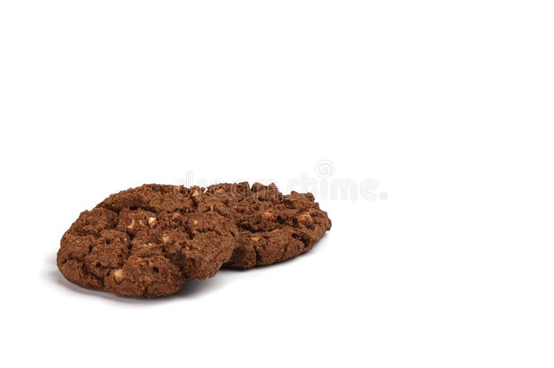 Plätzchengranola mit der Schokolade und Haselnüssen lokalisiert auf weißem Hintergrund stockbild