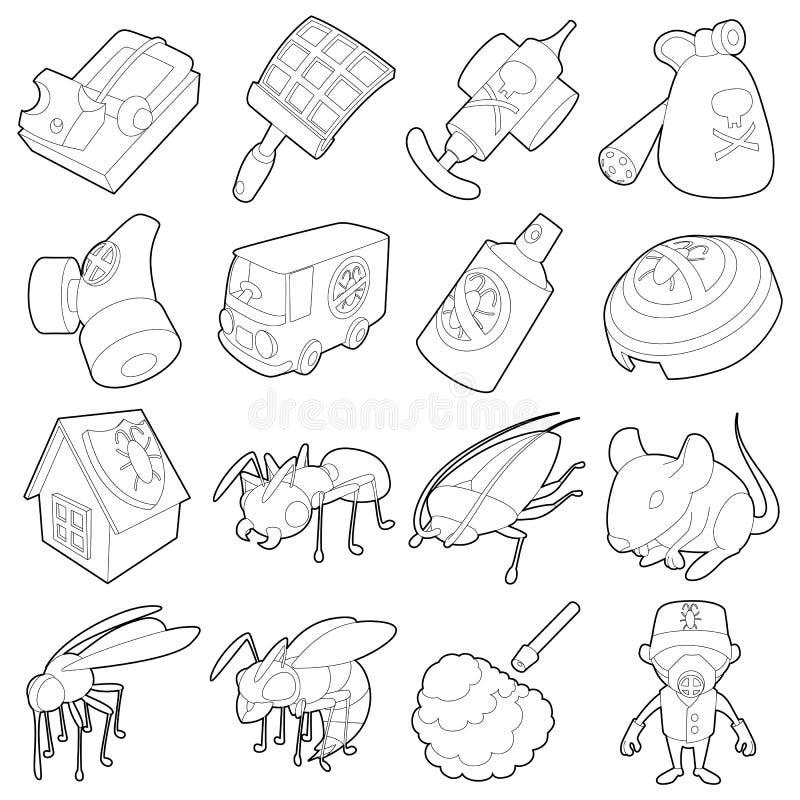 Plågakontroll avslutar symboler ställde in, skisserar stil royaltyfri illustrationer