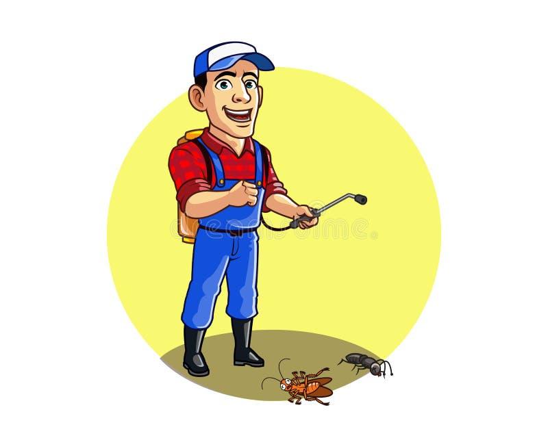 Plågakontroll Guy Sprays Cockroach och myra vektor illustrationer