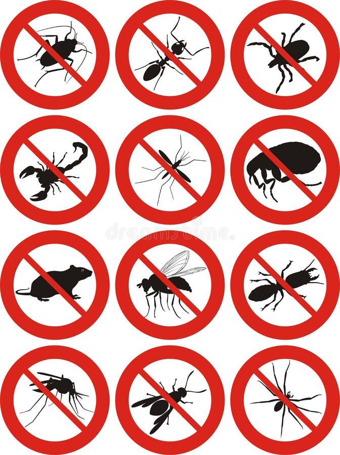 Plågakontroll - varnande tecken stock illustrationer