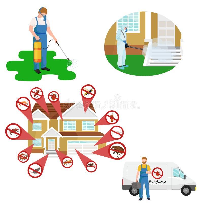 Plågakontrollbegrepp med illustrationen för vektor för lägenhet för krypdesinfektörkontur stock illustrationer