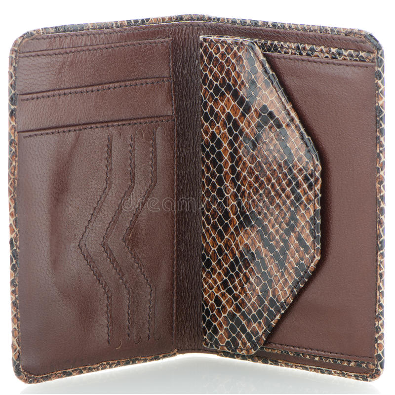 Plånbok för ormhudläder arkivbilder
