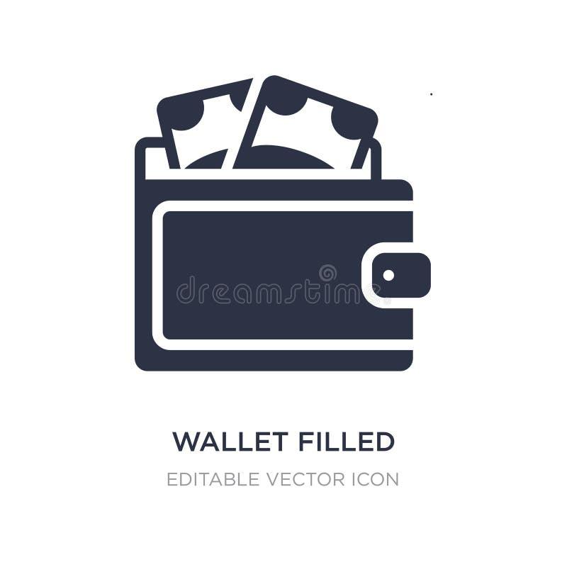 plånbok fylld pengarhjälpmedelsymbol på vit bakgrund Enkel beståndsdelillustration från kommersbegrepp royaltyfri illustrationer
