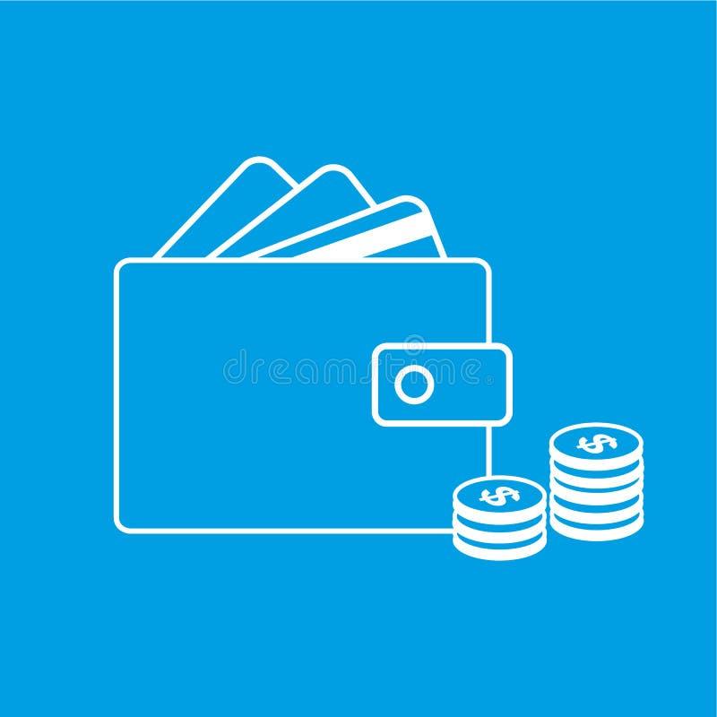 Plånbok, kreditkort och dollar symbol också vektor för coreldrawillustration royaltyfri illustrationer