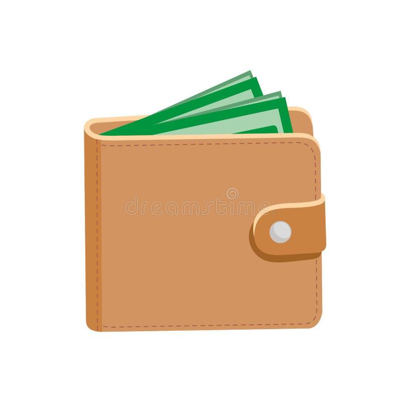 plånbok Läderplånbok och dollar också vektor för coreldrawillustration Isolerat på vit stock illustrationer