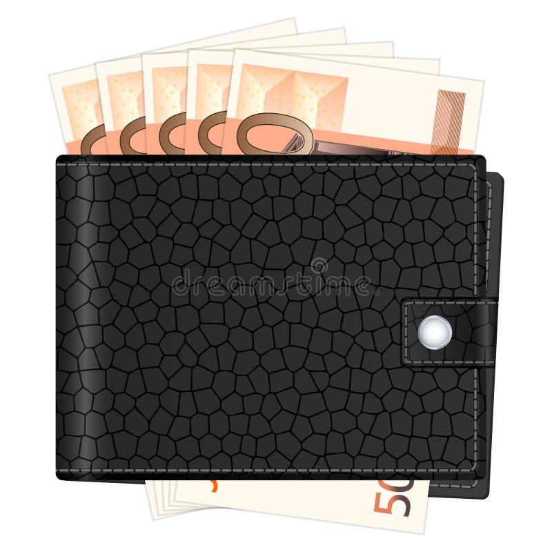 Plånbok med femtio eurosedlar royaltyfri illustrationer