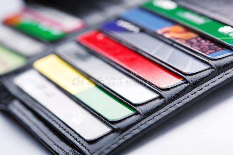 Plånbok med kort royaltyfria bilder