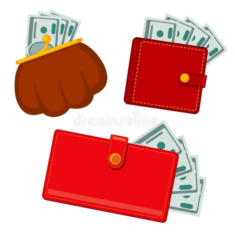 Plånbok med pengar, gröna dollar symboler för förtjänstvektorlägenhet royaltyfri illustrationer