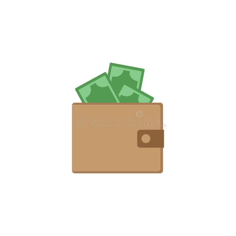 Plånbok med pengar Vit bakgrund också vektor för coreldrawillustration 10 eps stock illustrationer