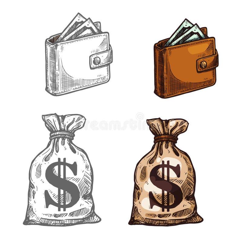 Plånbok- och pengarvektorsymbol royaltyfri illustrationer
