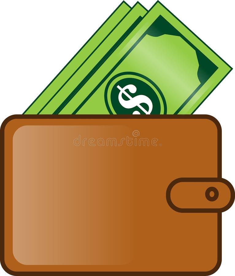 Plånbok som är full av plan tecknad filmillustration för pengar stock illustrationer