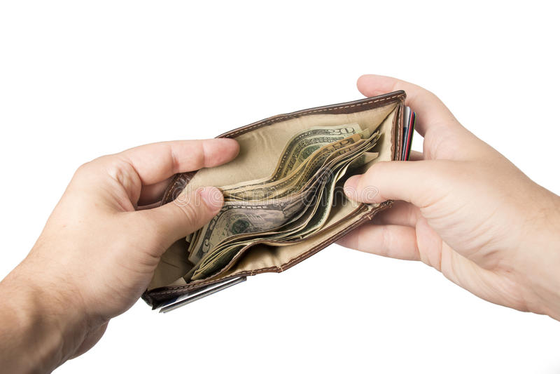 Plånbok som rymms som är öppen med kassa royaltyfria bilder