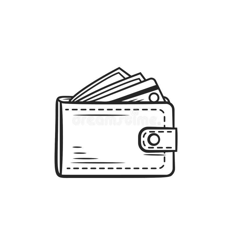 Plånbokhandväskasymbol stock illustrationer