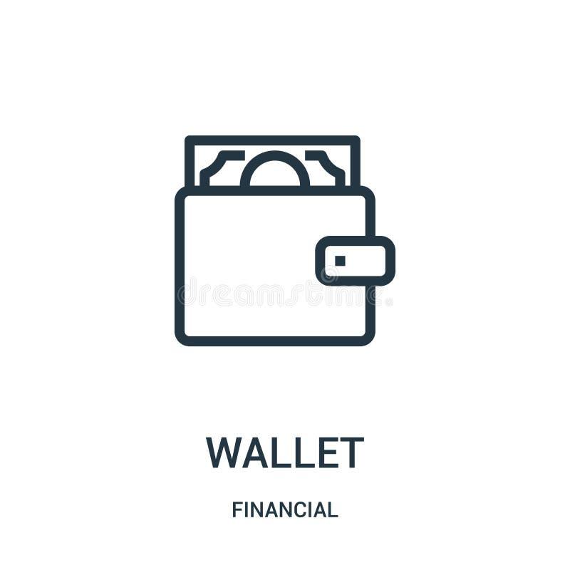 plånboksymbolsvektor från finansiell samling Tunn linje illustration för vektor för plånboköversiktssymbol Linjärt symbol för bru royaltyfri illustrationer