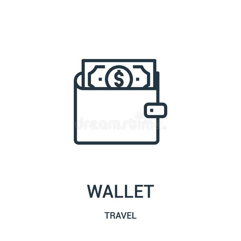 plånboksymbolsvektor från loppsamling Tunn linje illustration för vektor för plånboköversiktssymbol Linjärt symbol för bruk på re stock illustrationer