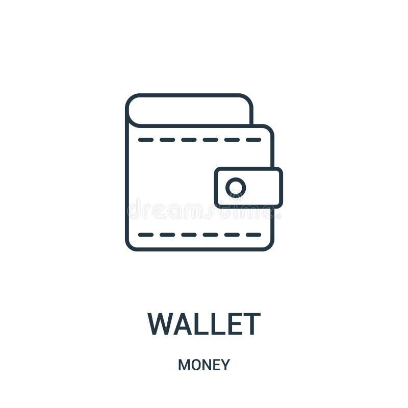 plånboksymbolsvektor från pengarsamling Tunn linje illustration för vektor för plånboköversiktssymbol royaltyfri illustrationer