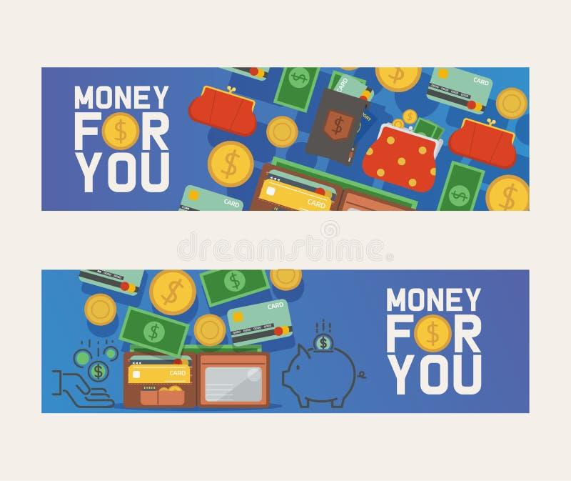 Plånbokvektormodellen piskar handväskaaffärsplånboken med sedlar, pengarillustration sombakgrunden ställde in av finansiellt stock illustrationer