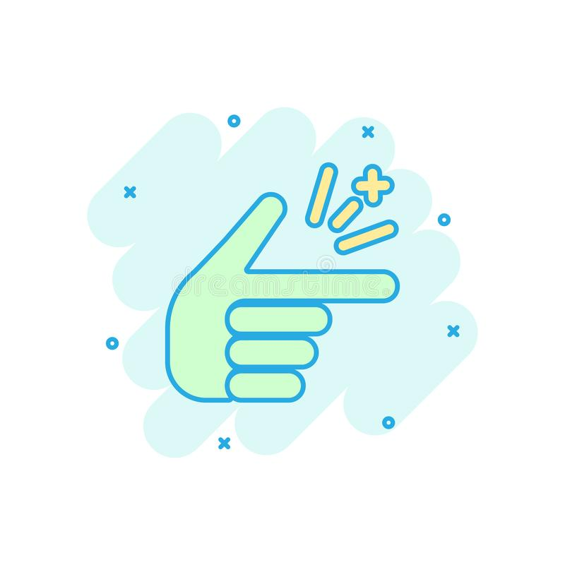 Plötslig symbol för finger i komisk stil Pictogram för illustration för tecknad film för fingeruttrycksvektor Plötslig gestaffärs vektor illustrationer