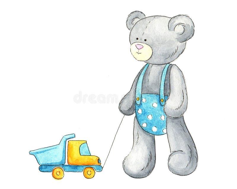 Plüschbär mit Spielzeuglastwagen lizenzfreie abbildung