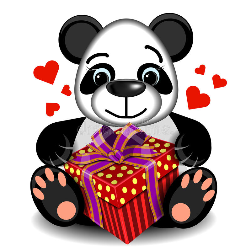 Plüschspielzeug-Liebe Panda mit Kastengeschenk lizenzfreie abbildung