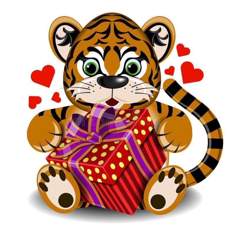 Plüschspielzeugtiger in der Liebe mit Kastengeschenk lizenzfreie abbildung