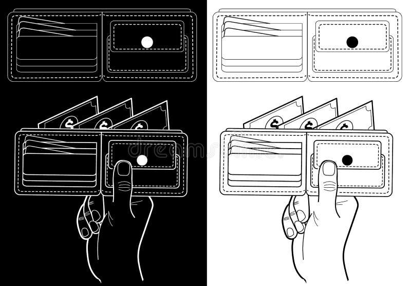 Pl?nbok med pengar Svartvit illustration för ekonomiska institutioner: banker börser vektor illustrationer