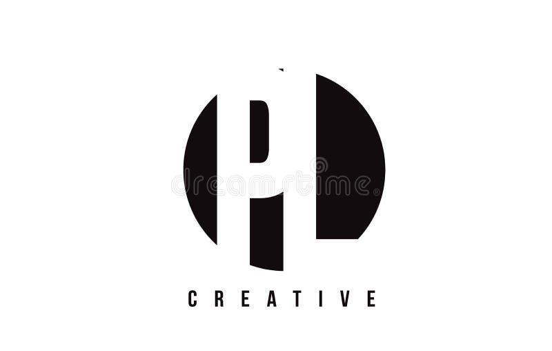 PL P L White Letter Logo Design with Circle Background. stock illustration