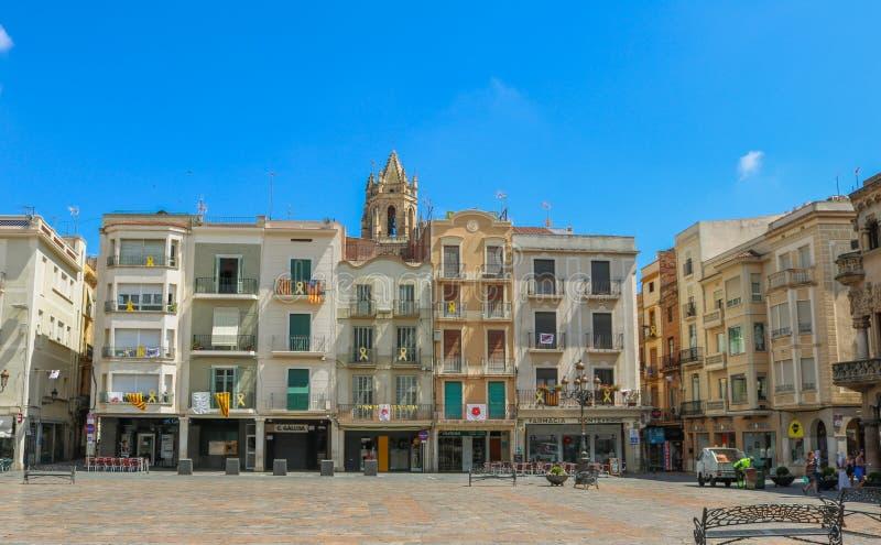 Plaça mercadal, il centro urbano di Reus, Spagna Tiro nel giugno 2018 fotografie stock