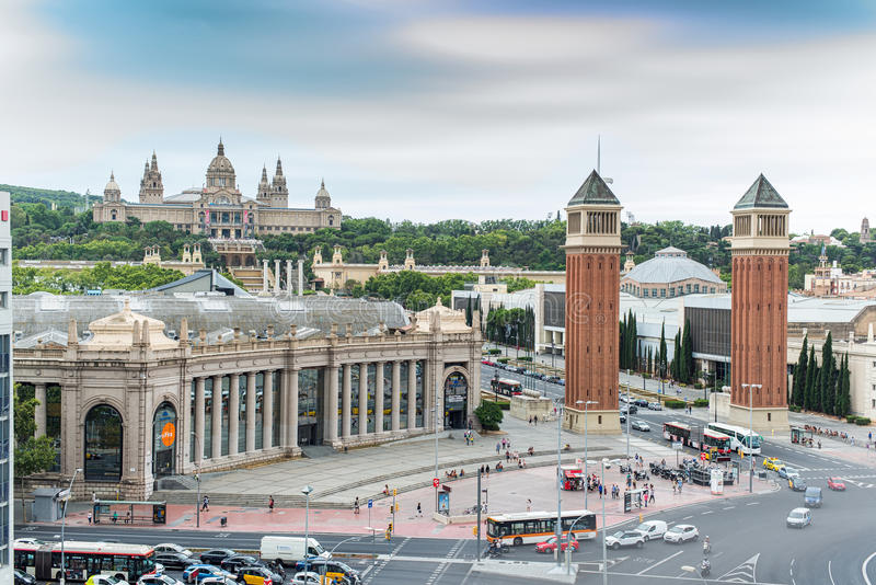 Plaça d'Espanya或西班牙广场 巴塞罗那西班牙 库存照片