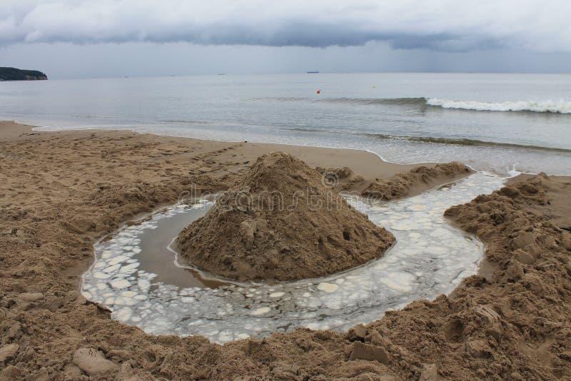 Plaża Sopot, Polska w chmurnym letnim dniu zdjęcie royalty free