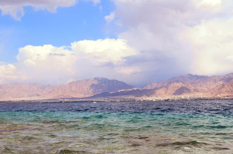 Plaża w izrael z widokiem Jordan fotografia royalty free