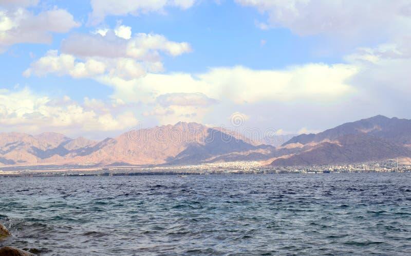 Plaża w izrael z widokiem Jordan obrazy royalty free