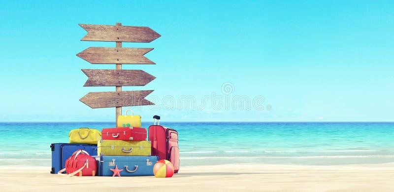 Plaża wakacji bagaż przy plażą 3d i kierunki odpłacają się ilustracji