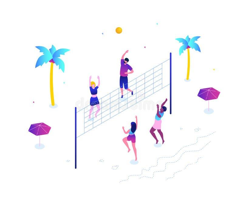 Plażowa siatkówka - nowożytna kolorowa isometric wektorowa ilustracja royalty ilustracja