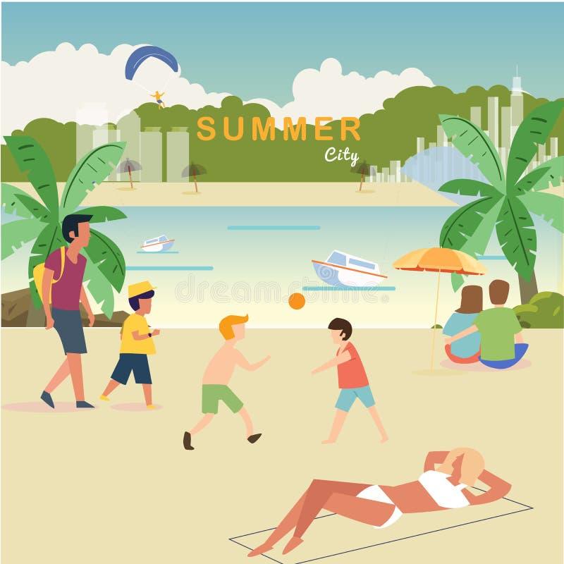 Plaży życia pojęcie relaks ludzie blisko plaży - wektorowa ilustracja royalty ilustracja