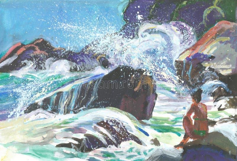 plaż fale royalty ilustracja