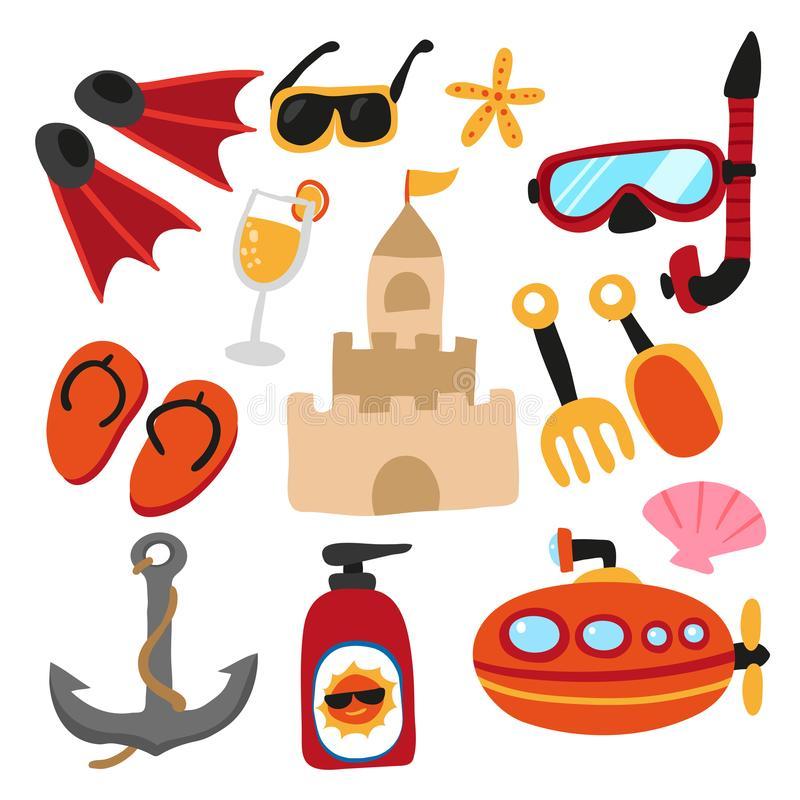 Plaż zabawek projekt ilustracji