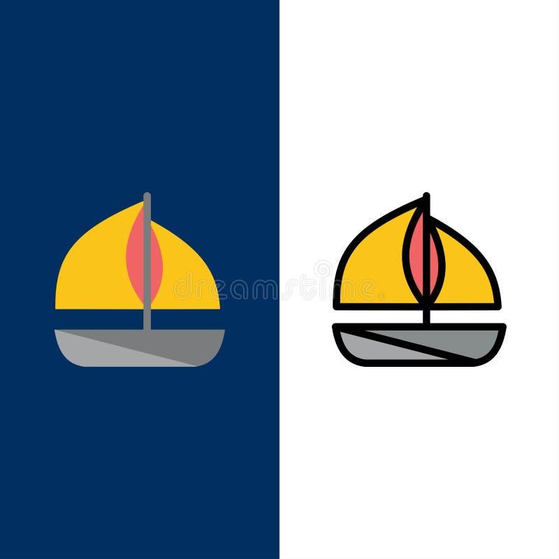 Plaża, łódź, statek ikony Mieszkanie i linia Wypełniający ikony Ustalony Wektorowy Błękitny tło ilustracja wektor