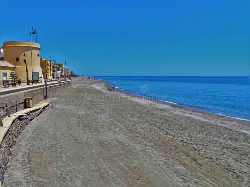 Plaża Balerma od El Ejido Almeria Andalusia Hiszpania fotografia stock