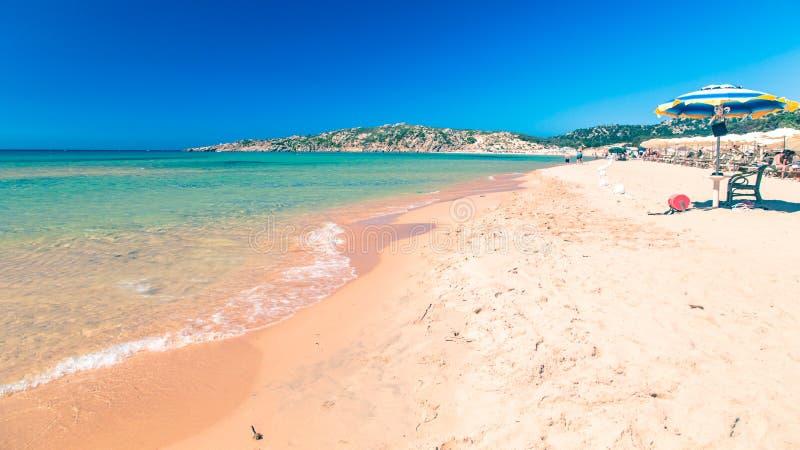 Plaża Chia su Giudeu, Sardinia obraz royalty free