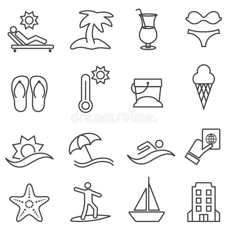 Plaża i lato ikony set royalty ilustracja