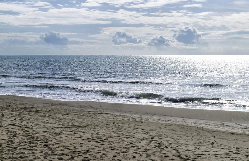 Plaża i morze jesienią: Forte dei marmi, Versilia, Włochy obrazy royalty free