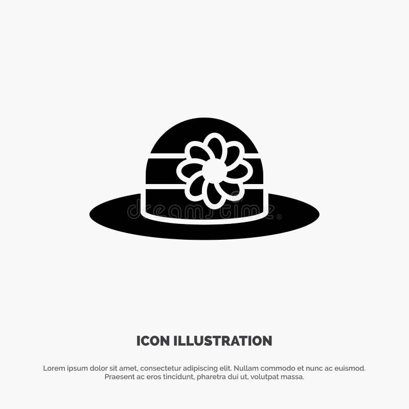 Plaża, kapelusz, nakrętka glifu ikony stały wektor ilustracja wektor